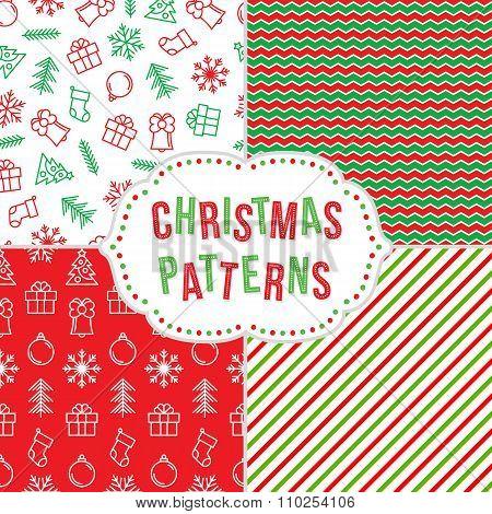 Christmass Seamless Pattern Set.