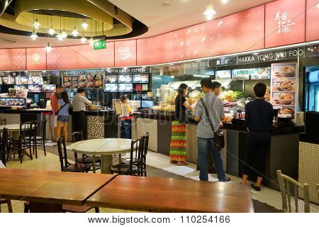 SINGAPORE - NOVEMBER 08, 2015: food court in The Shoppes at Marina Bay Sands. The Shoppes at Marina Bay Sands is one of Singapore's largest luxury shopping malls