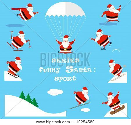 Vector Set Design Elements Funny Sportsman Santa Claus Different Character Isolated On Blue Backgrou