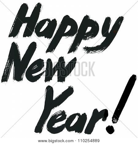 Happy New Year text. hand drawn text. watercolor New Year background
