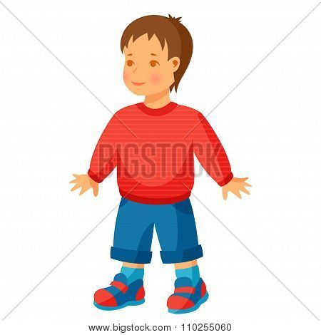 Illustration of pretty little boy in trousers and sweater