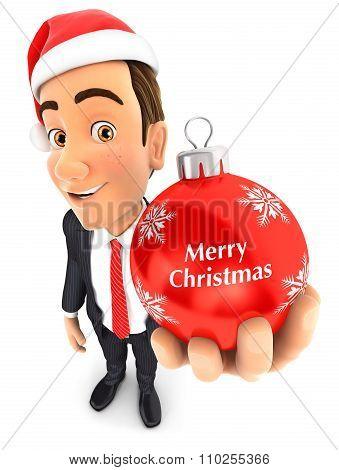 3d businessman christmas bauble
