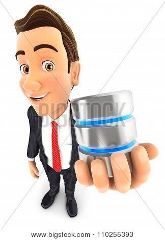 3d businessman server icon