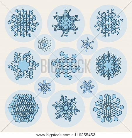 Set Of Thirteen Vector Line Art Stroke Offset Geometric Blue Snowflake Shape Design Elements