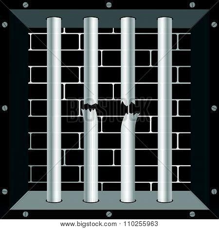Prison Bars Freedom Vector Illustration