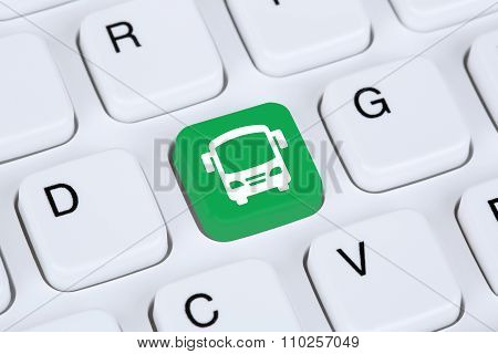 Book A Bus Or Coach Trip Travel Online Internet Booking Computer Concept