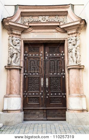 Old Wooden Door With Carved