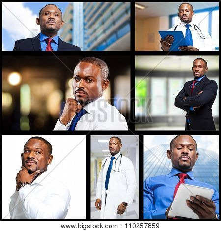 Collage of black businessmen and doctors