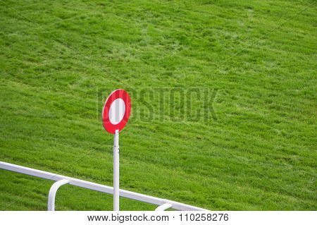 Finishing Post On Horse Racing Track