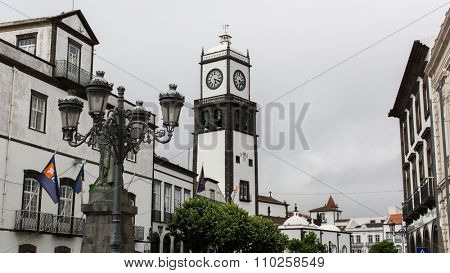 PONTA DELGADA, AZORES/PORTUGAL - CIRCA JUN, 2015: One of streets in center of Ponta Delgada. City is located on Sao Miguel Island (232.99 km2). Region's capital under the revised constitution of 1976.