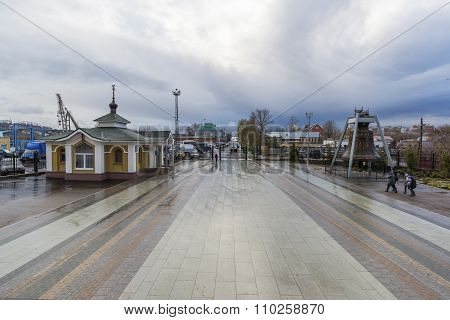 Nizhny Novgorod, Russia - 03.11.2015.    Area before the Cathedral  St. Alexander Nevsky. 19th centu