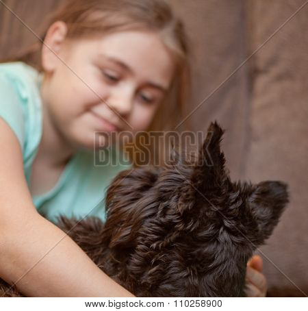 Little Girl With A Her Miniature Schnauzer