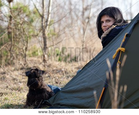 Woman With A Dog Camping