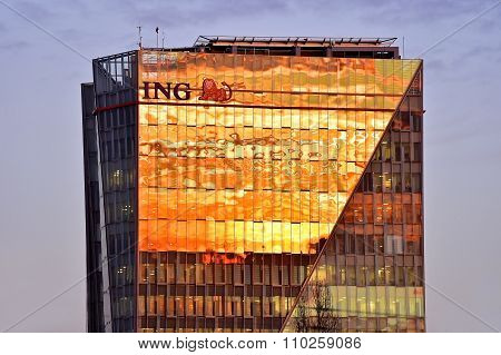 Ing Bucharest Headquarters At Sunset