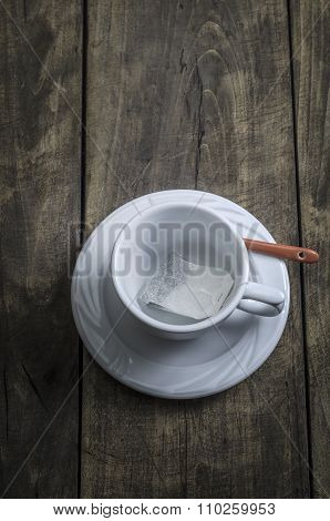 Aerial View Of Empty Tea Cup