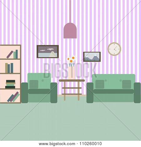 Living room with furniture. Vektor flat style illustration