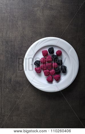 Colorful Jelly On White Plate