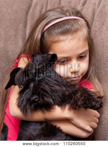 Miniature Schnauzer And Little Girl