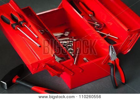 Repairman Red Toolbox With Wrench Tool Kit