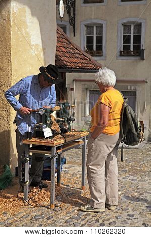 Artisan Make Craft In The Swiss Village Gruyeres, Switzerland.