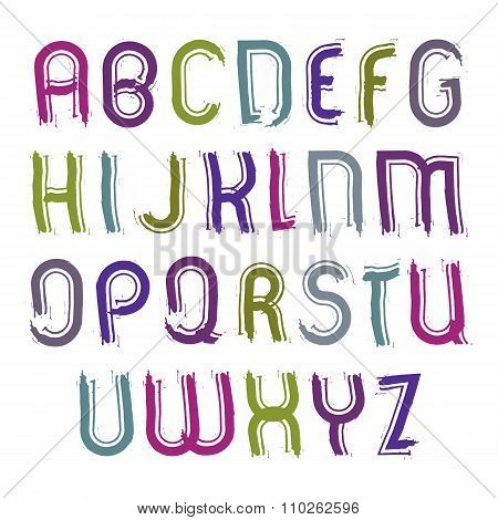 Vector Childish Striped Font, Handwritten Watercolor Capital Letters Isolated On White, Unusual Brig