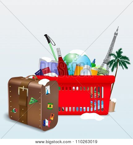 Vector illustration of vacation shopping cart