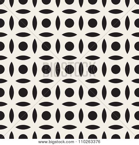 Vector Seamless Black And White Simple Circle Arc Square Pattern