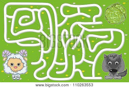 Help Lamb Pass Through A Maze And Don't Get Lost