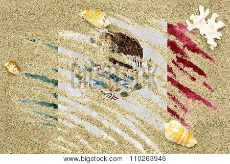 Flag Of Mexico Under A Beach Background