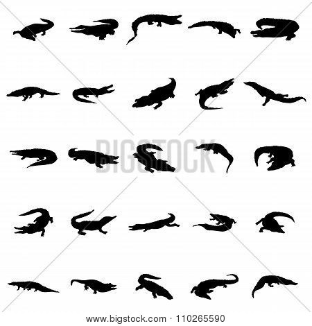 Crocodile silhouettes set. Crocodile silhouettes vector. Crocodile silhouettes illustration. Crocodile silhouettes isolated. Crocodile silhouettes black. Crocodile icons. Crocodile icons vector