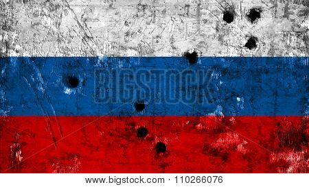 Flag of Russia, Russian Flag painted on metal texture with bullet holes