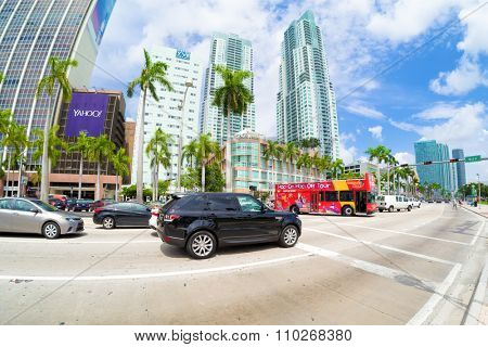 MIAMI,USA - AUGUST 5,2015 : Biscayne Boulevard in Miami on a beautiful summer day