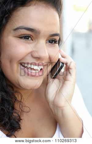 Happy Young Woman Using Mobile Phone