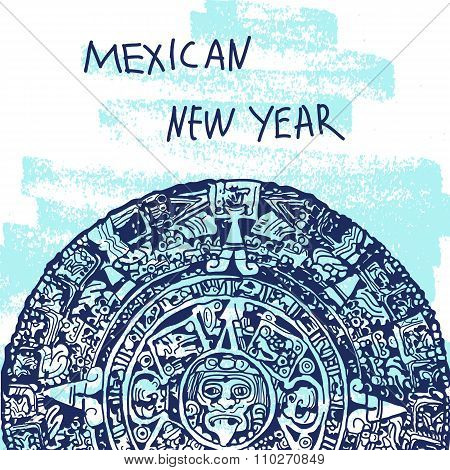 New Year Vector Illustration. World Famous Landmarck Series: Mexico,Mayan calendar, Maya. Mexican Ne