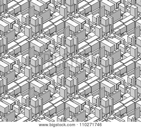 Vector Seamless Black And White Shaded Isometric Blocks Cubic City Composition Pattern