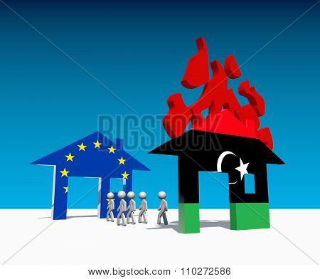 Humans Escape From Home Under Fire Textured By Libya Flag