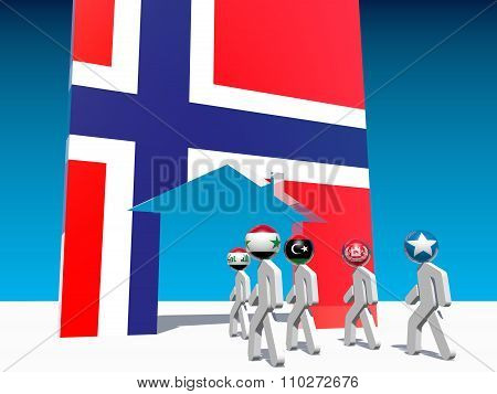 refugees go to home icon textured by norway flag