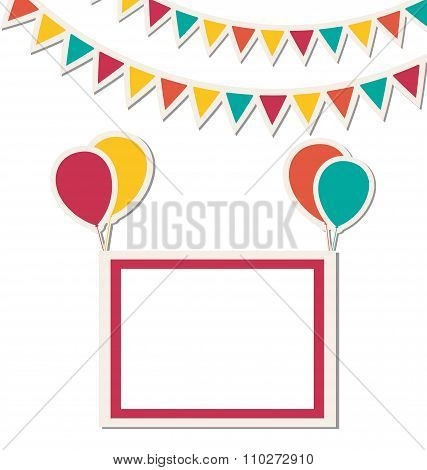 Festive frame hang on multicolored inflatable air balls with bri