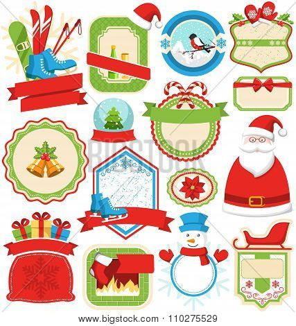 Set of Christmas Winter Lables Icons Flat Collection Isolated on