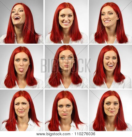 Collage of young woman expressing different emotions