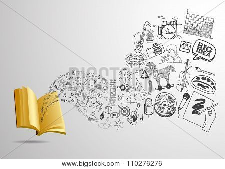 3D open book with flowing educational doodles for background. Ready to use.