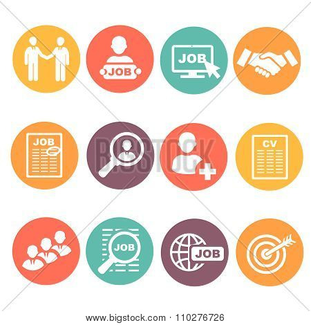 job hunting, search, human resources icons set