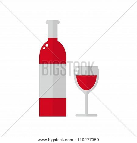 Wine bottle isolated icon on white background.