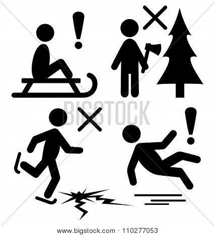 Set of Winter Caution Danger Information Flat Black Pictograms P