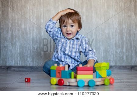 Baby Boy, Playing With Wooden Train Toy