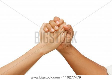 Arm Wrestling Between Man And Woman