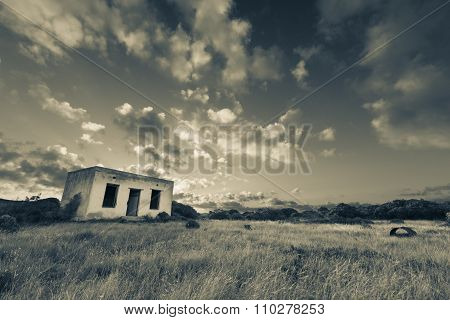 Old Small Deserted House In Field With Cloud Sunset Landscape Artistic Conversion