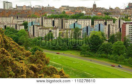 Edinburg, Scotland - June, 2013: Edinburgh City And Mountain Viewed From The Hill