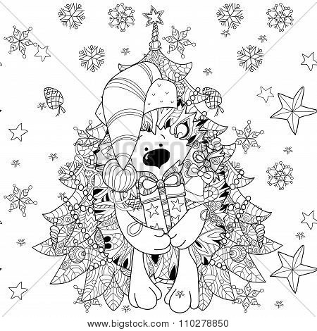 Doodle hand drawn xmas hedgehog with gift box.