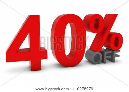40% Off - Forty Percent Off 3D Text In Red And Grey